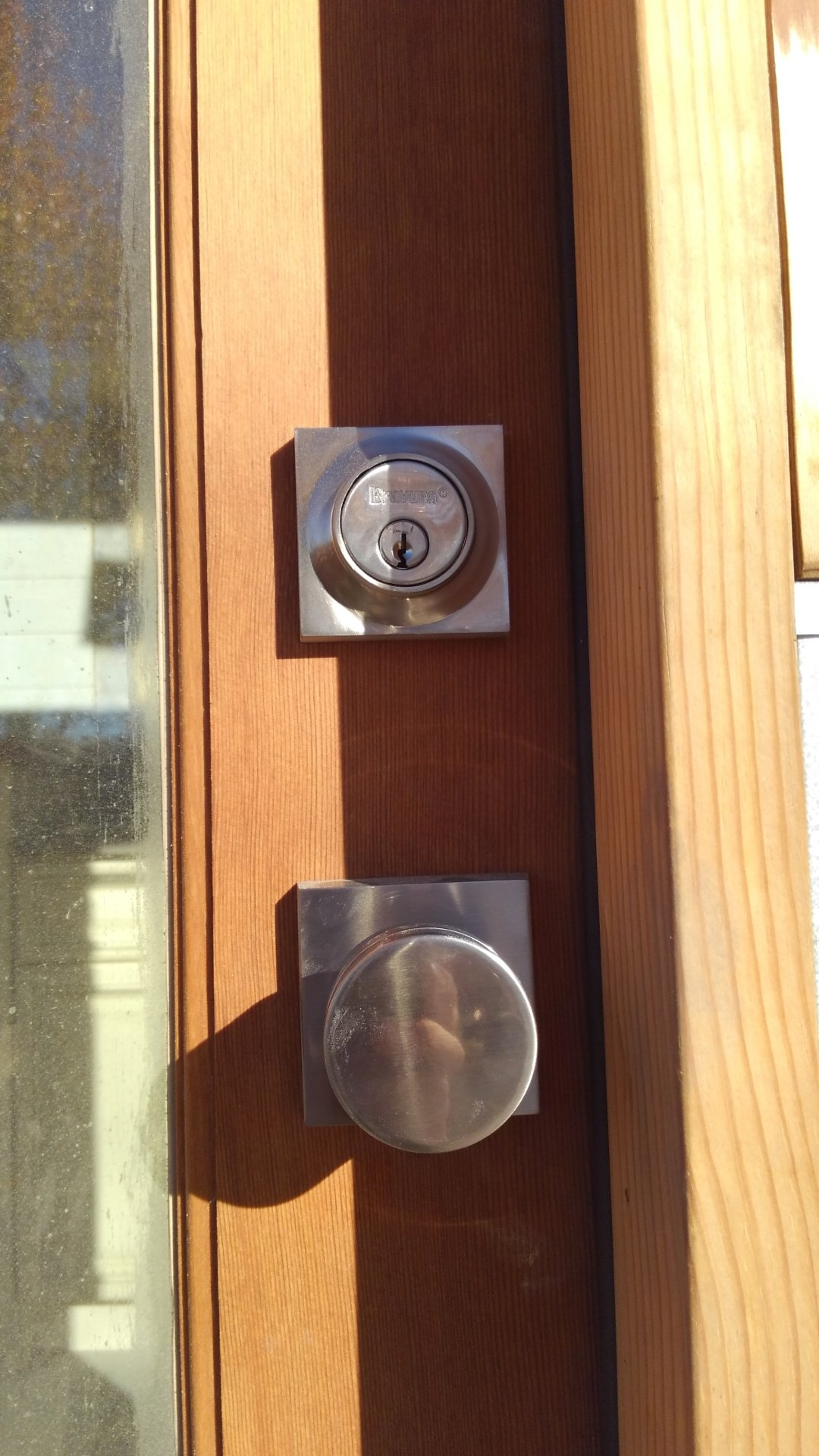 Knob and lock installed on front door