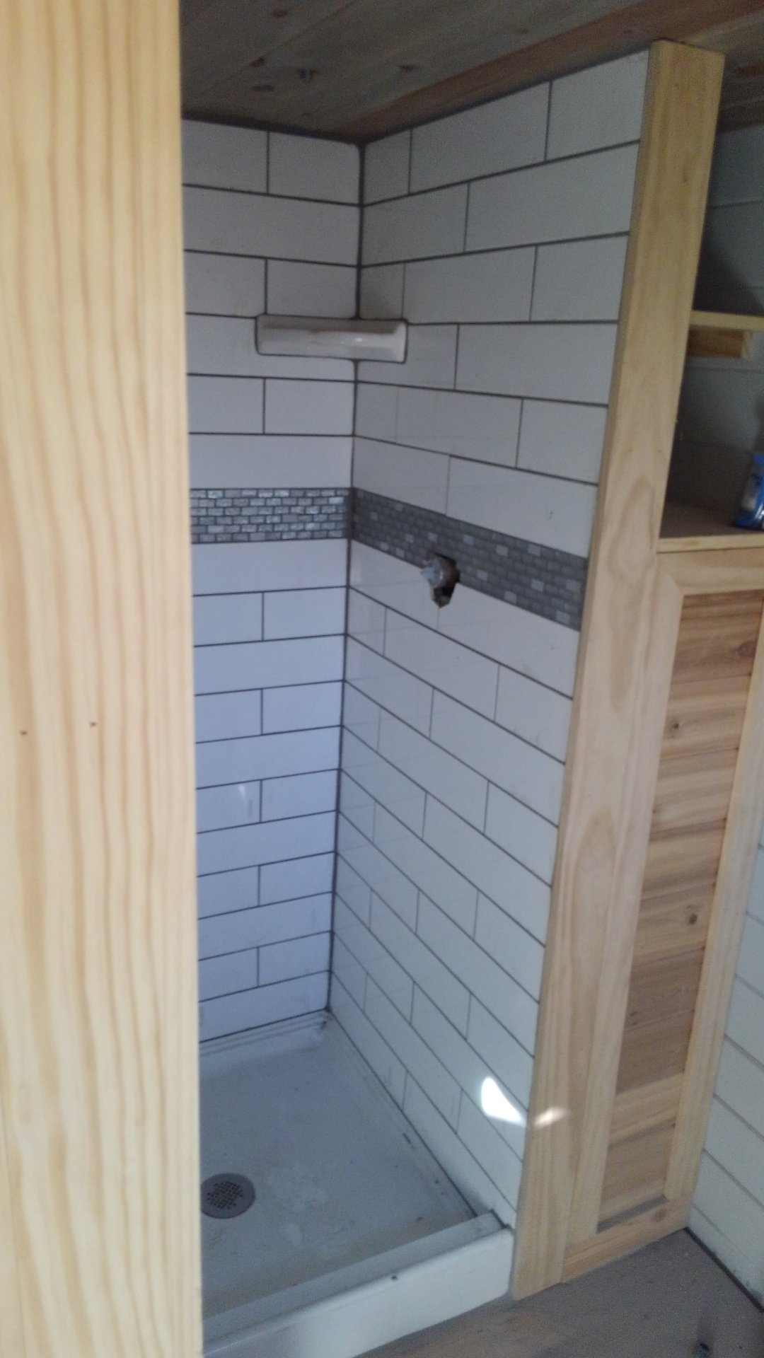 Shower tile and grout completed